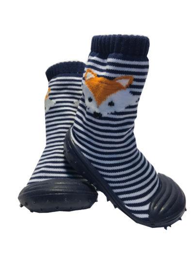 Rubber Soled Socks, Blue Fox