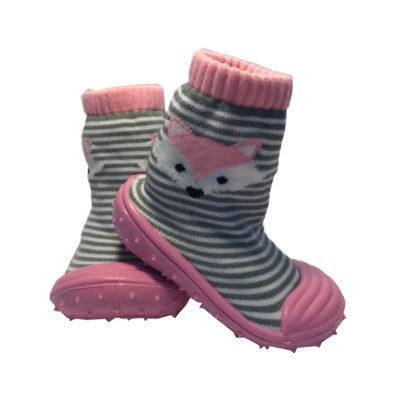 Rubber Soled Socks, Pink Fox